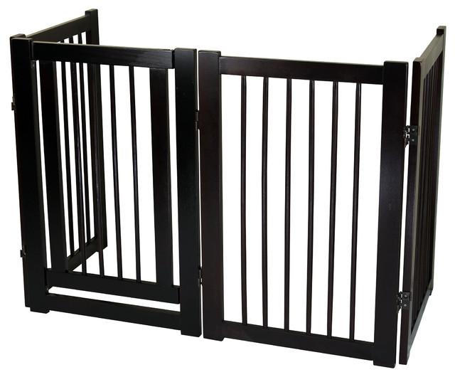 free standing pet gate with door espresso