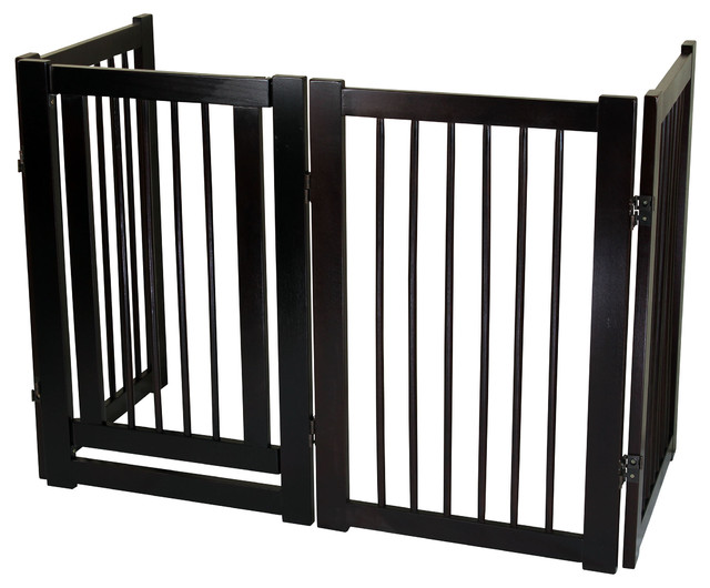 Superb Free Standing Pet Gate With Door, Espresso