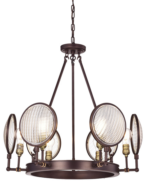 Cartweight 6-Light Oil Rubbed Bronze Round Chandelier With Headlight Glass