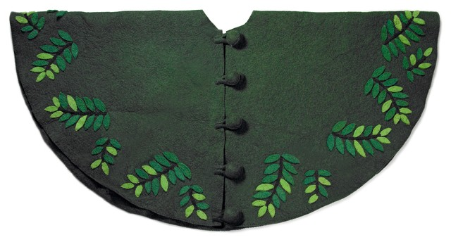 Leaves Christmas Tree Skirt In Green