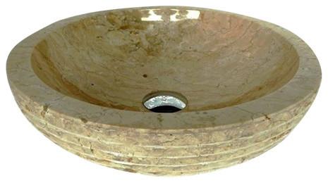 Exotica Import Marble Vessel Sink, Cream.