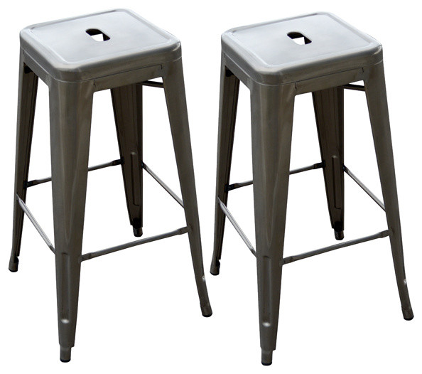 Leather counter stool set of 2 ivory contemporary bar stools - Loft Metal Bar Stool 2 Piece Bar Stools And Counter