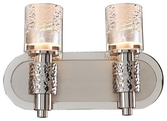 Satin Nickel Ceiling Lights Bathroom Vanity Chandelier: Ashington 2-Light Bath, Polished Satin Nickel