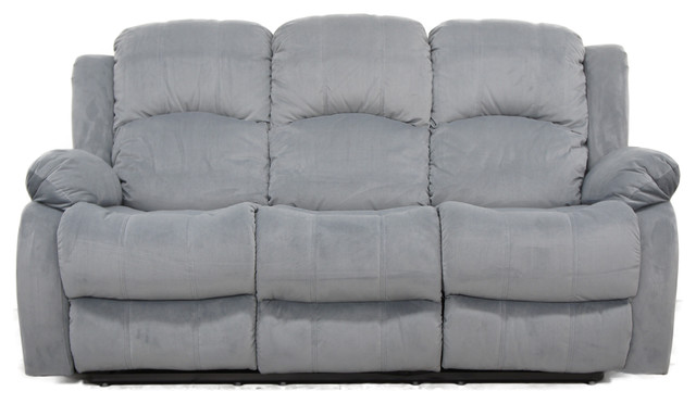 Traditional Brushed Microfiber Reclining Sofa Gray contemporary-sofas  sc 1 st  Houzz & Traditional Brushed Microfiber Reclining Sofa - Contemporary ... islam-shia.org