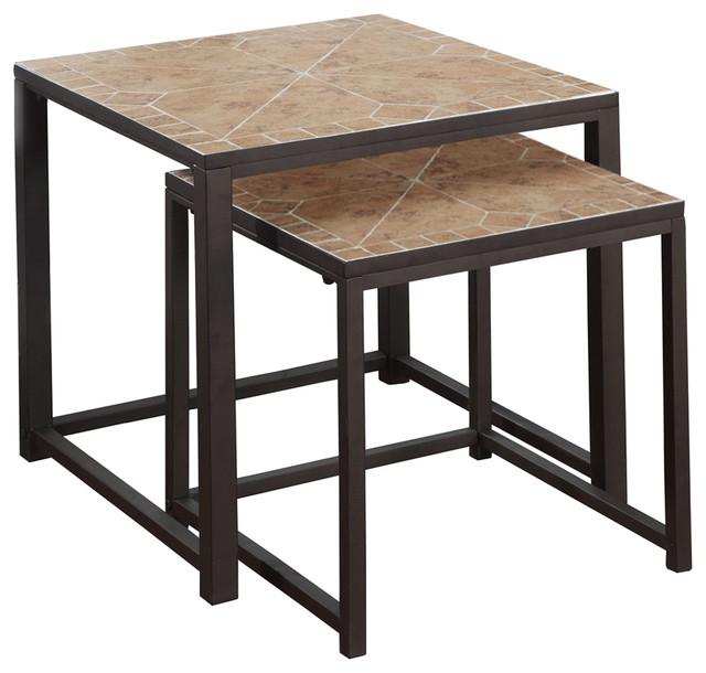 Nesting Tables, 2 Piece Set, Terracotta Tile Top, Brown