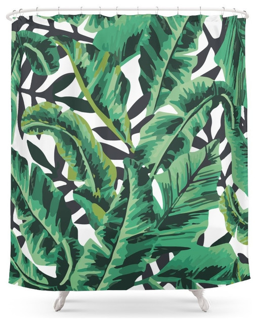 Exceptional Tropical Glam Banana Leaf Print Shower Curtain Tropical Shower Curtains  Tropical Shower Curtain