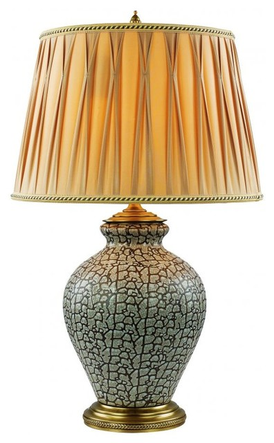One Light Antique Brass Crackle Round Pleated Gold Shade