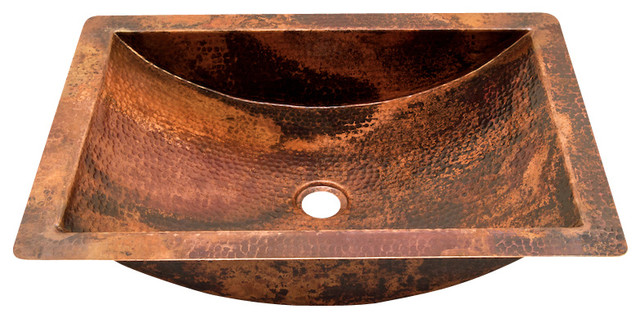 Rectangular Undermount Bathroom Copper Sink
