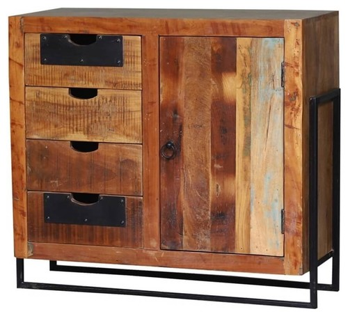 Theodosia Reclaimed Wood 4 Drawer Kitchen Storage Cabinet