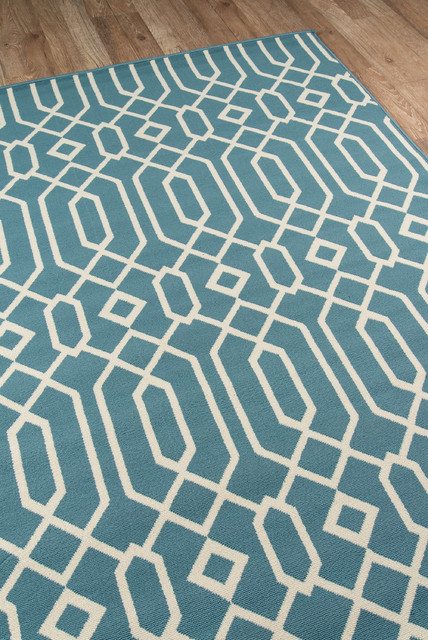 Baja Indoor/outdoor Rug, Blue, 2&x27;3x7&x27;6 Runner.