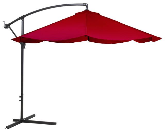 Pure Garden Offset 10&x27; Aluminum Hanging Patio Umbrella, Red.