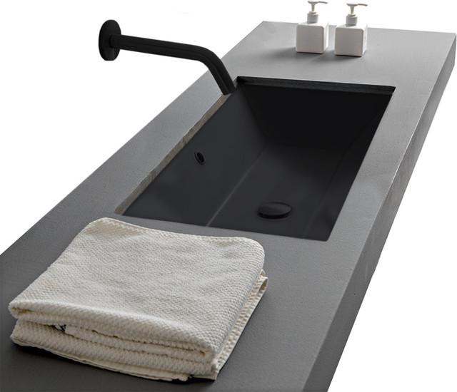 Rectangular Small Matte Black Ceramic, Bathroom Sinks Undermount Small