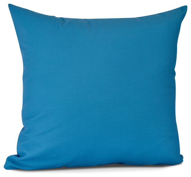 Solid Outdoor Pillow, Blue,16 X 16 Inch Contemporary Outdoor Cushions
