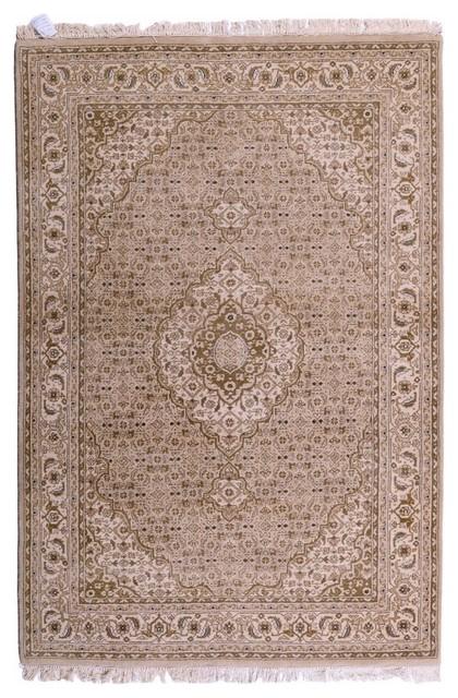 Indo Bijar Rug, Oriental Carpet, India Hand-Knotted Classic, 205x140 cm
