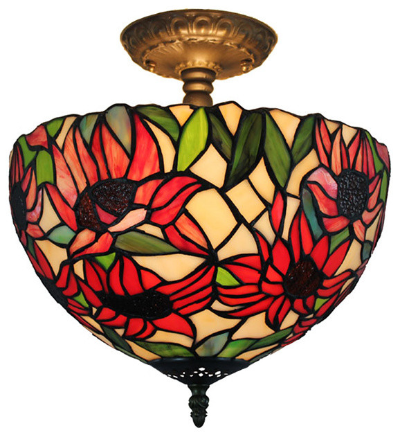 Amora Lighting Tiffany Style Sunflower Ceiling Lamp.