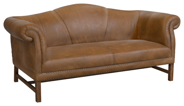 Porter Settee, Caramel Leather.