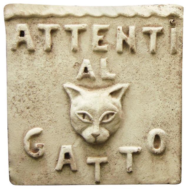 "/""Beware of Cat/"" Wall Art Decor Sculpture Plaque by Orlandi FS59212"