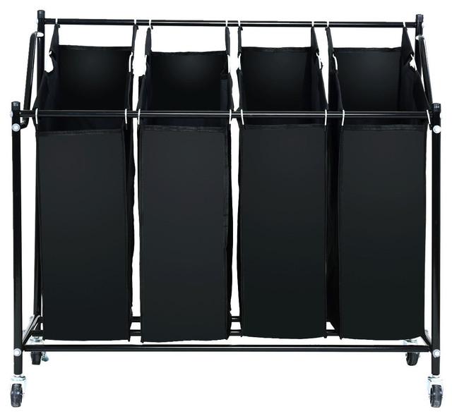 4 Bag Rolling Laundry Sorter Cart Hamper Organizer Compact Basket Heavy Duty.