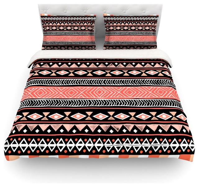 Skye Zambrana Mojave Black Red Duvet Cover Cotton