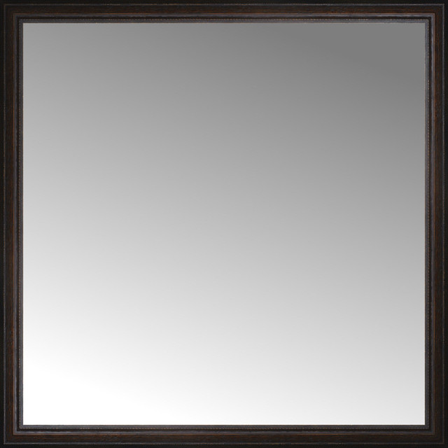 48 X48 Custom Framed Mirror Distressed Brown