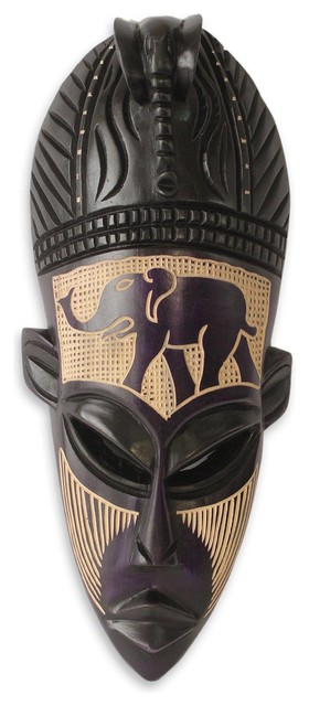 NOVICA Hand Carved Ghanaian Wood Wall Mask African Ghost