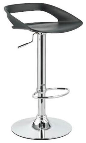 Chi Contemporary Adjustable Bar Stool, Black