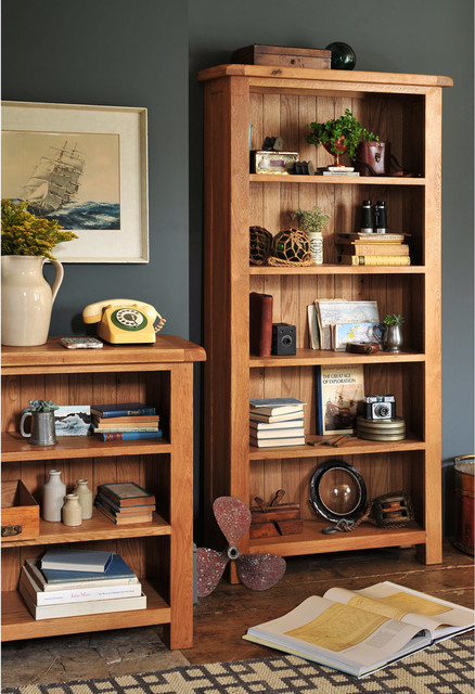 Lyon Oak Large Bookcase 5 Shelves Farmhouse Living