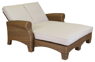 Sunset West Outdoor Furniture Santa Cruz Double Chaise With Cushions Canvas Flax With Self Welt