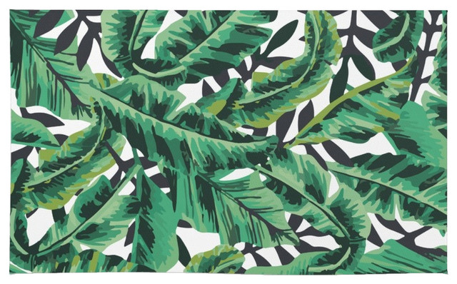 tropical glam banana leaf print rug area rugs honolulu 5x7 5x8