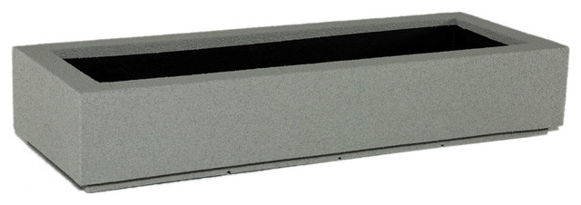 Porto Short Outdoor Trough Planter, Concrete Gray