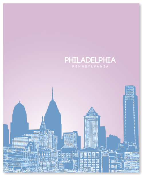C Philadelphia City Rooftop Art Print Home Decor Wall Art Poster