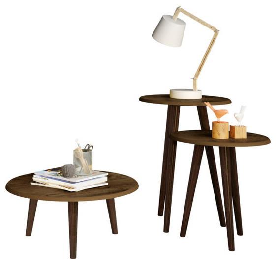 Stylecraft Barclay Brass 3 Piece Living Room Accent Table: Carmine 3-Piece Mid Century-Modern End Table Set