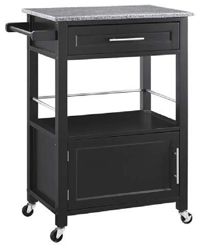 Linon Home Decor Black Kitchen Cart With Granite Top