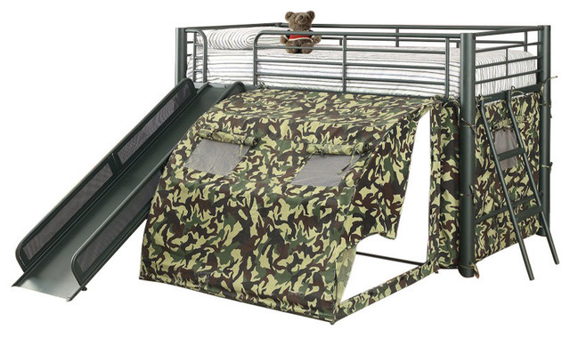 Bunk Bed With Slide and Tent, Green by Benjara