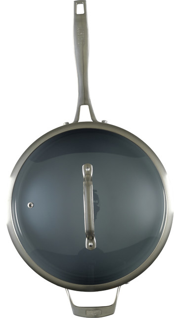 Bialetti Ceramic Pro Gray Ceramic 11 Inch Covered Saute Pan.