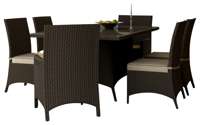 Hampton 7 Piece Wicker Patio Dining Set, Chocolate Wicker And Beige  Cushions Contemporary Outdoor