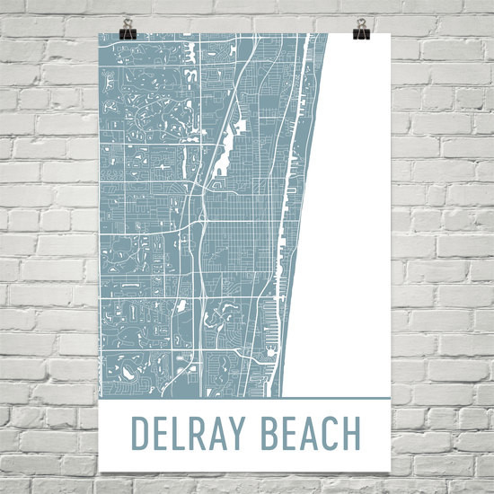Delray Beach Florida Map.Delray Beach Fl Map Art Print Poster Wall Art Contemporary