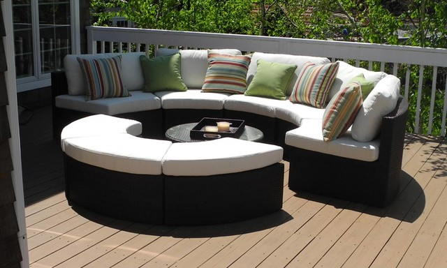 Nice Round Outdoor Wicker Sectional Couch Set Contemporary Deck