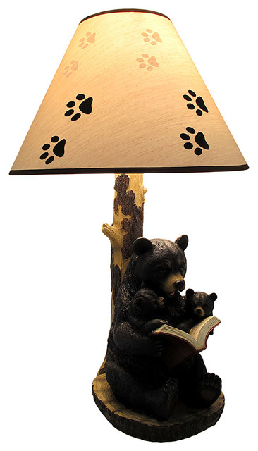 Black Bear Reading To Curious Cubs Table Lamp With Paw Print Shade.