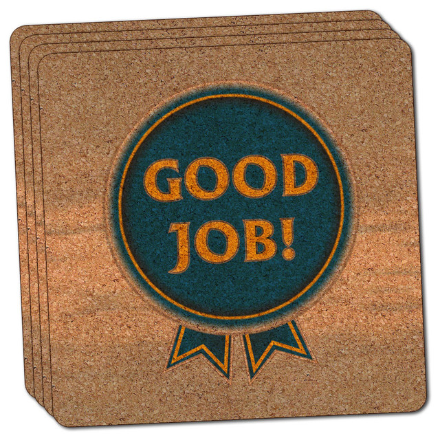 Blue Ribbon Good Job Award Thin Cork Coaster Set Of 4
