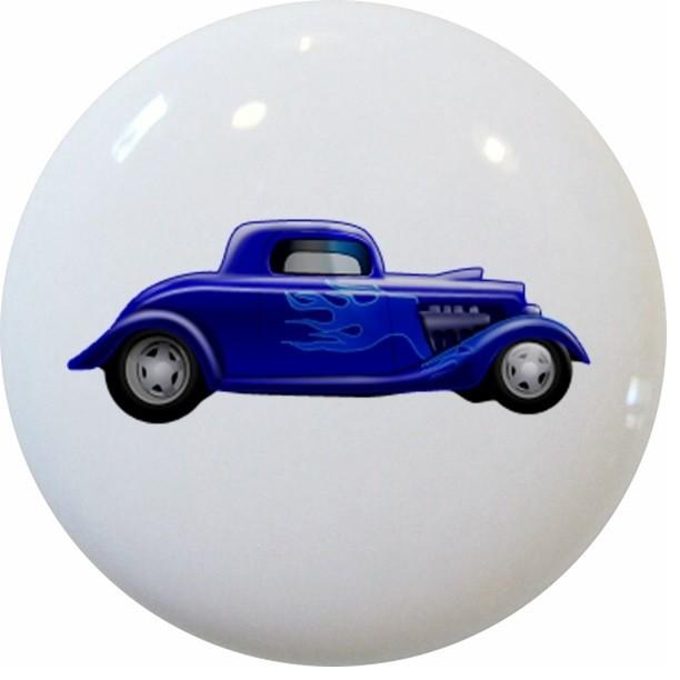 Blue Hot Rod Car Ceramic Cabinet Drawer Knob