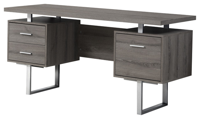 "Computer Desk, 60""l, Dark Taupe And Silver Metal."