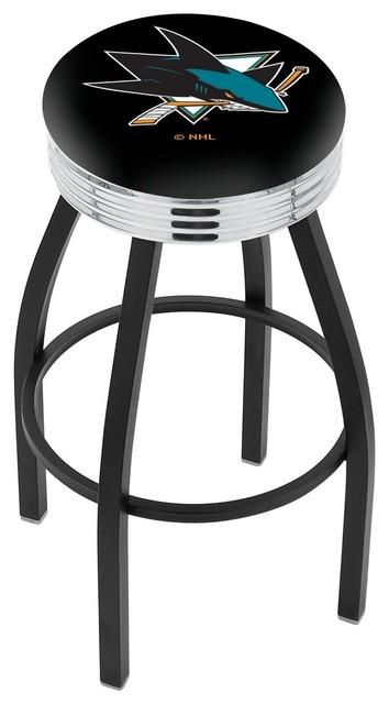 Fabulous 25 Black Wrinkle San Jose Sharks Swivel Bar Stool With Chrome 2 5 Ribbed Ring Ibusinesslaw Wood Chair Design Ideas Ibusinesslaworg