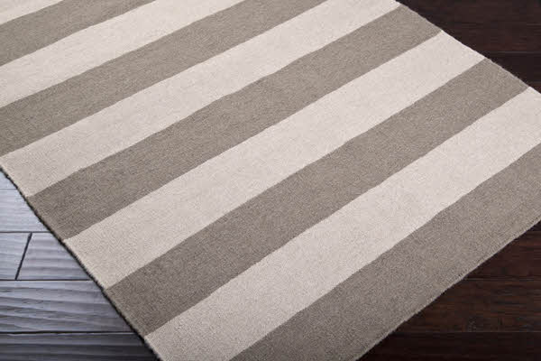 Gray and Ivory Striped Rug