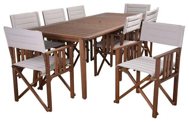 Amazonia Panama 9-Piece Patio Dining Set, Khaki