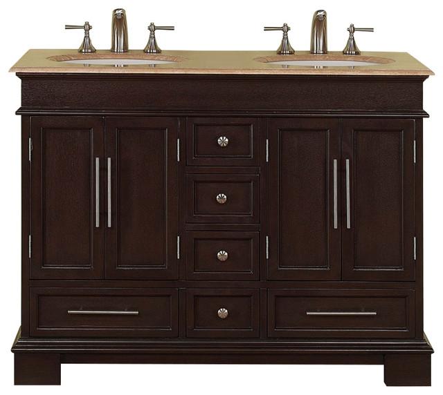 48 Inch Small Dark Walnut Double Sink Bathroom Vanity, Travertine,  Transitional