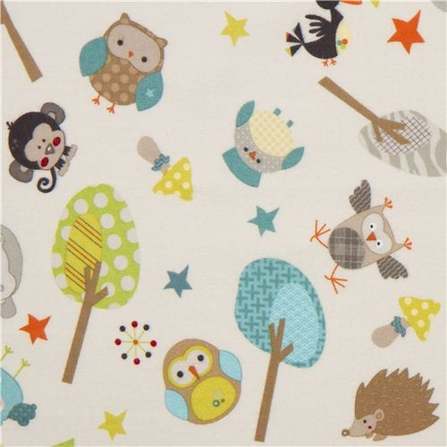 Houzz Spring Landscaping Trends Study: Off-white Riley Blake Animal Flannel Fabric Owl Hippo