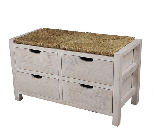 Wood Bench With 4 Drawers and Seagrass Top, White Wash