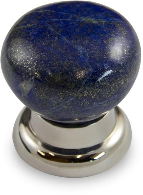 Lapis Lazuli Mushroom Knob with Polished Nickel Finish on Bel Design Rose