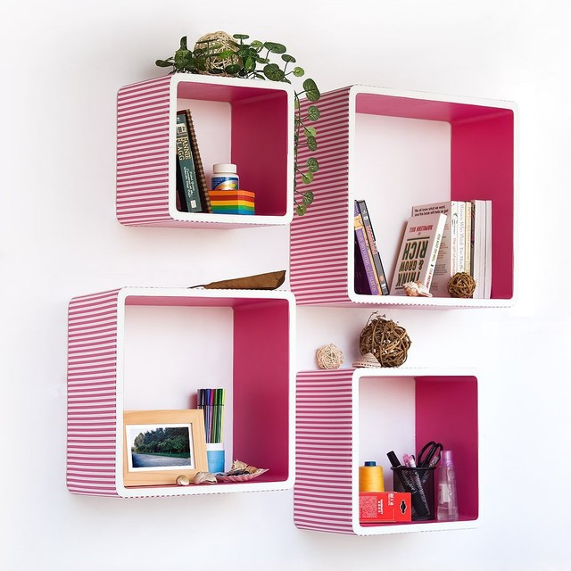 Trista Pink Strip Square Leather Wall Shelf